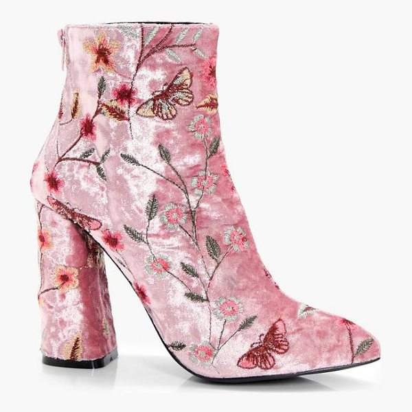 BOOHOO Isabelle Embroidered Velvet Ankle Boot - We'll make sure your shoes keep you one stylish step ahead...