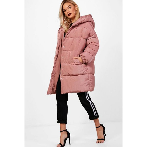 BOOHOO Isobel Longline Quilted Coat With Hood - Just because it's raining outside doesn't mean you have to...