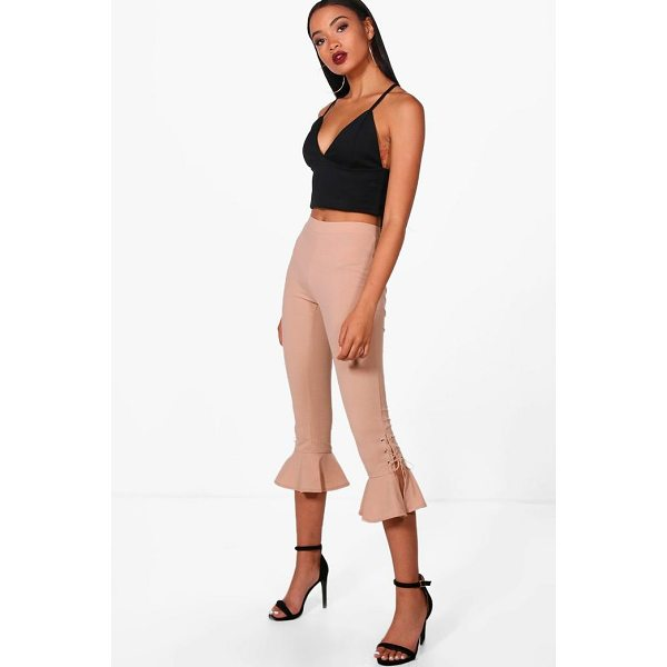 BOOHOO Ivy Lace Up & Frill Hem Trousers - Trousers are a more sophisticated alternative to...