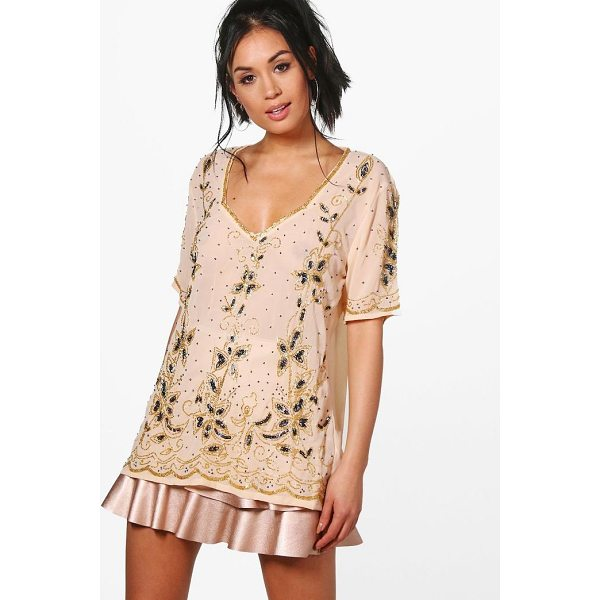 BOOHOO Izzy Embellished Plunge T-Shirt - Steal the style top spot in a statement separate from the...