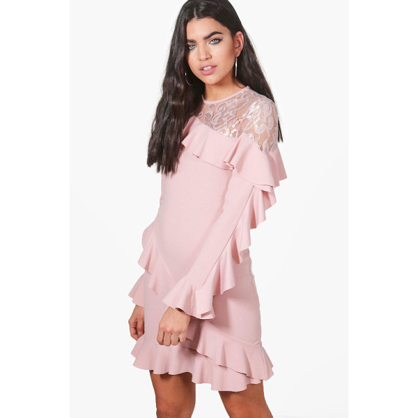 BOOHOO Jackie Lace and Frill Bodycon Dress - Jackie Lace and Frill Bodycon Dress rose