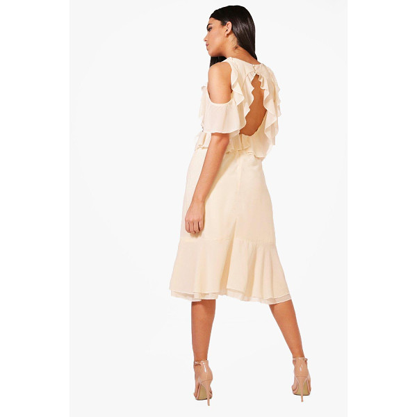 BOOHOO Jaclyn Frill Open Back Midi Dress - Dresses are the most-wanted wardrobe item for day-to-night...