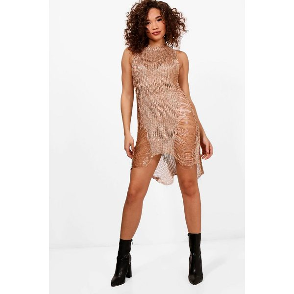 BOOHOO Jade Gold Ladder Distressed Dress - Dresses are the most-wanted wardrobe item for day-to-night...