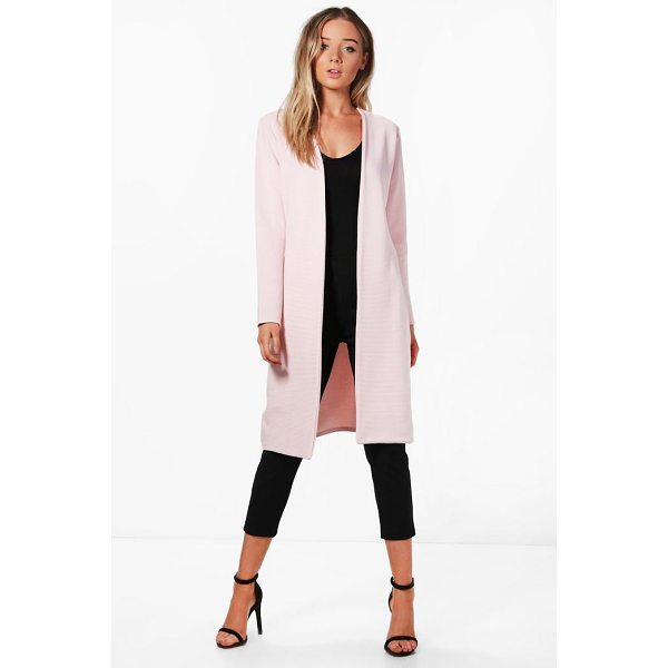 BOOHOO Jade Rib collarless Duster - Wrap up in the latest coats and jackets and get out-there...