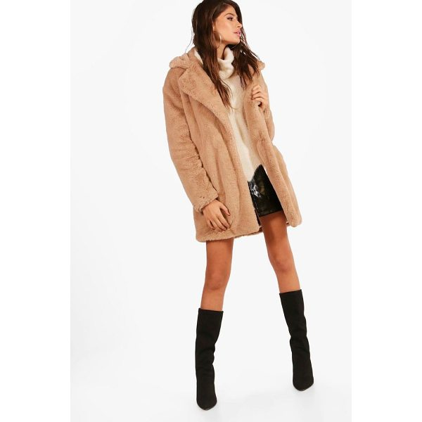 BOOHOO Jasmine Boutique Oversized Collar Faux Fur Coat - Wrap up in the latest coats and jackets and get out-there...