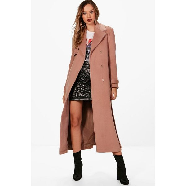 BOOHOO Jasmine Maxi Belted Wool Look Coat - Wrap up in the latest coats and jackets and get out-there...