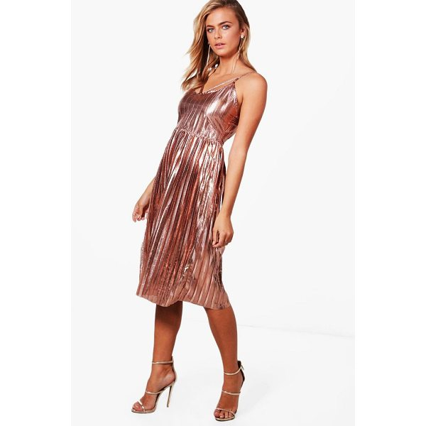 BOOHOO Jasmine Metallic Pleat Strappy Midi Dress - Dresses are the most-wanted wardrobe item for day-to-night...