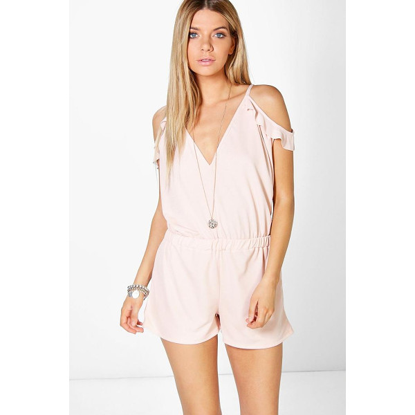 BOOHOO Jen Open Shoulder Ruffle Playsuit - Perfect for day or play, a playsuit will solve your...