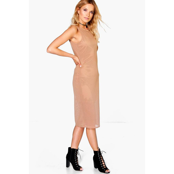 BOOHOO Jenelle Fishnet Sleeveless Midi Bodycon Dress - Dresses are the most-wanted wardrobe item for day-to-night...