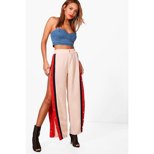 BOOHOO Jenna Contrast Popper Panel Woven Trousers - Trousers are a more sophisticated alternative to...