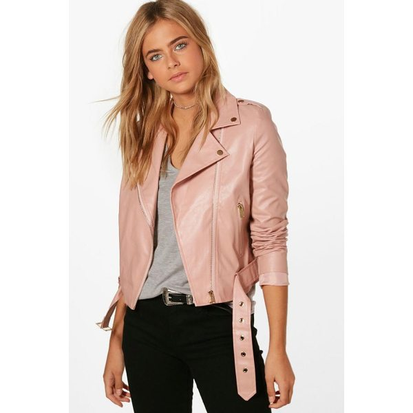 BOOHOO Jennifer Faux Leather Vegan Biker - Wrap up in the latest coats and jackets and get out-there...