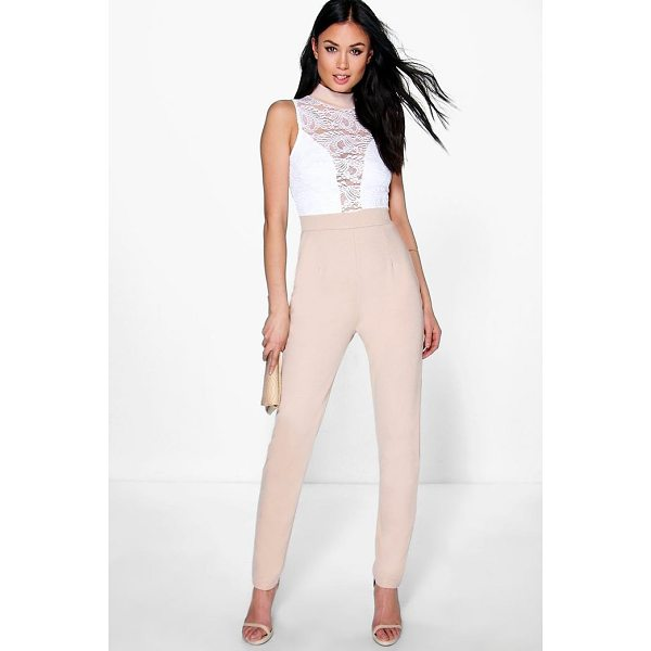 BOOHOO Jess Barely There Lace Skinny Leg Jumpsuit - Jumpsuits are your day-to-night dress alternativeYour 70s...