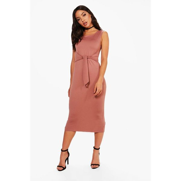 BOOHOO Jess Tie Front Detail Midi Dress - Dresses are the most-wanted wardrobe item for day-to-night...