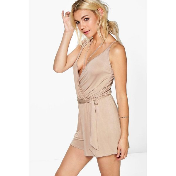 BOOHOO Jessica Cami Style Wrap Belt Jersey Playsuit - Perfect for day or play, a playsuit will solve your style...