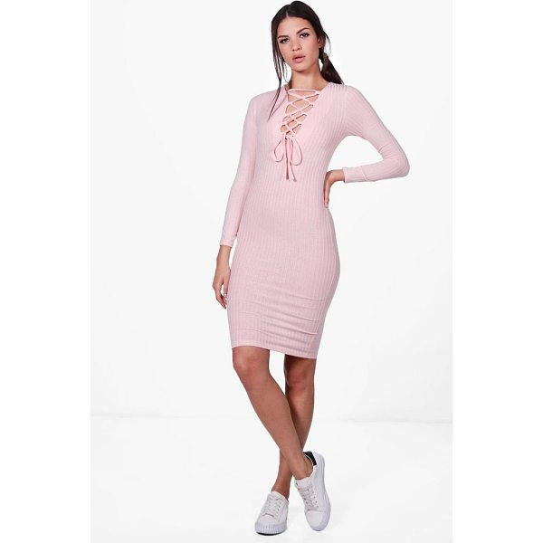 BOOHOO Jessica Lace Up Rib Knit Midi Dress - Nail new season knitwear in the jumpers and cardigans that...