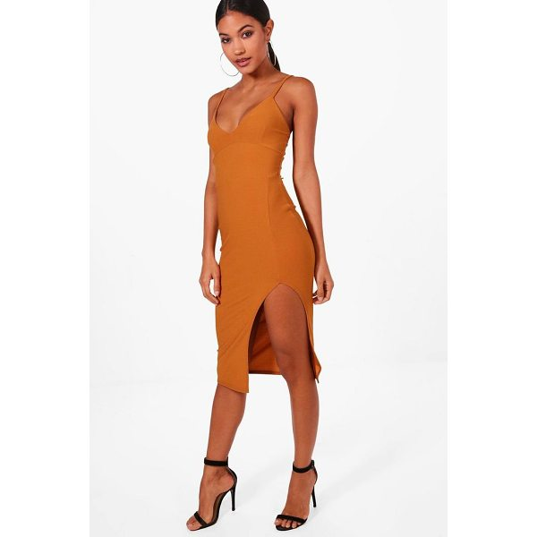 BOOHOO Jessica Plunge Neck Side Split Midi Dress - Dresses are the most-wanted wardrobe item for day-to-night...