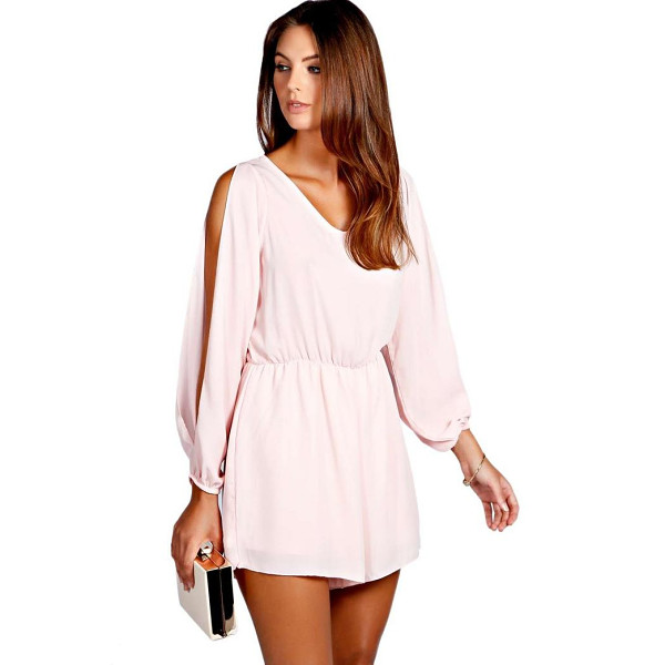 BOOHOO Jessica Split Sleeve Crepe Playsuit - Perfect for day or play, a playsuit will solve your style...