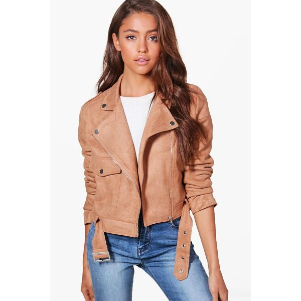 BOOHOO Jessica Suedette Biker Jacket - Wrap up in the latest coats and jackets and get out-there...
