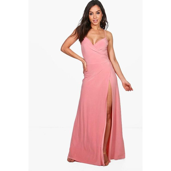 BOOHOO Jessie Strappy Slinky Wrap Maxi Dress - Dresses are the most-wanted wardrobe item for day-to-night...
