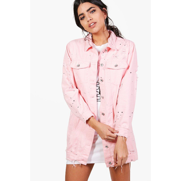 BOOHOO Jilly Longline Paint Splatter Denim Jacket - Wrap up in the latest coats and jackets and get out-there...