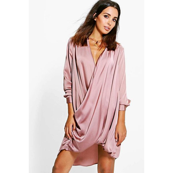 BOOHOO Jinnie Satin Wrap Front Shift Dress - Dresses are the most-wanted wardrobe item for day-to-night...