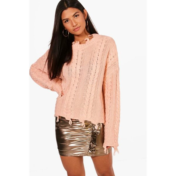 BOOHOO Joanna Distressed Crop Cable Jumper - Nail new season knitwear in the jumpers and cardigans that...
