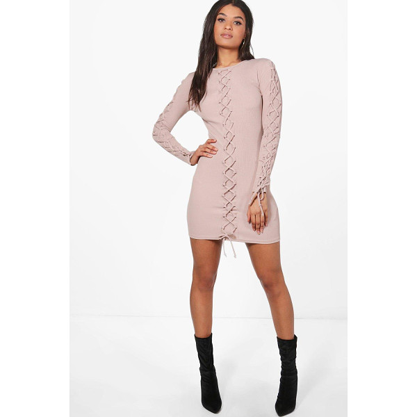 BOOHOO Joanna Lace Up Detail Bodycon Dress - Dresses are the most-wanted wardrobe item for day-to-night...