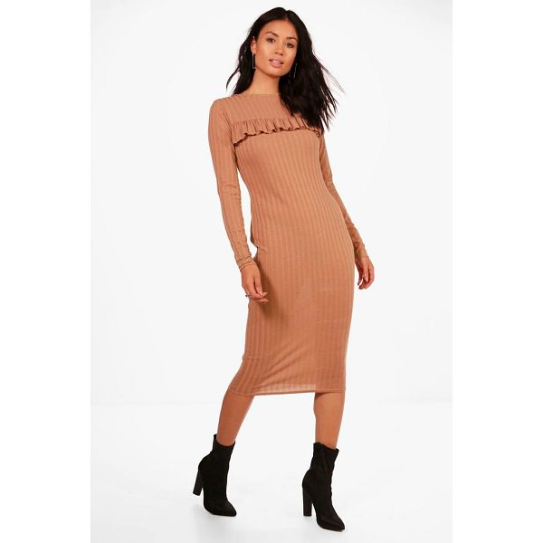 BOOHOO Joanna Ribbed Frill Bodycon Midi Dress - Dresses are the most-wanted wardrobe item for day-to-night...