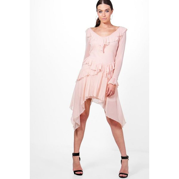 BOOHOO Jodie Mesh Frill Long Sleeve Skater Dress - Dresses are the most-wanted wardrobe item for day-to-night...
