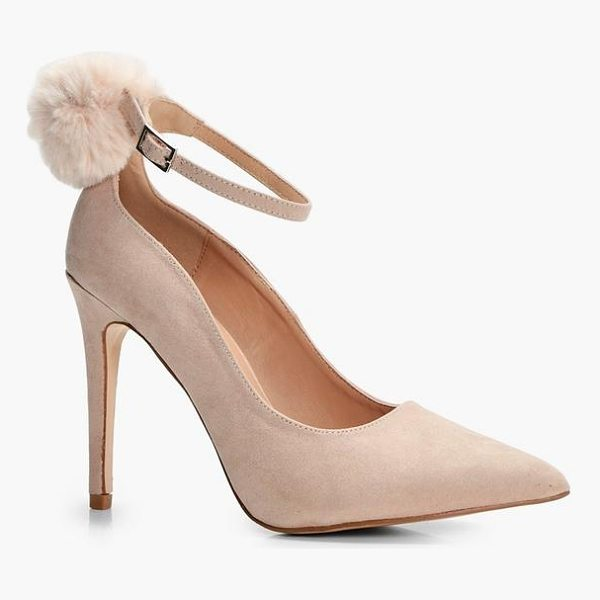 BOOHOO Josie Faux Fur Pom Trim Ankle Court Shoe - We'll make sure your shoes keep you one stylish step ahead...