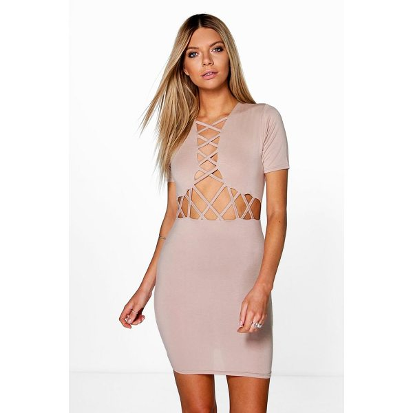 BOOHOO Josie Lattice Cut Out Bodycon Dress - Dresses are the most-wanted wardrobe item for day-to-night...