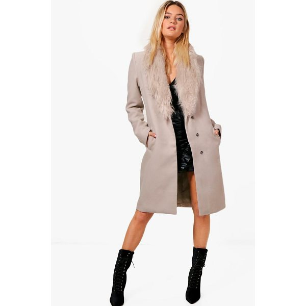 BOOHOO Julia Faux Fur Collar Wool Look Coat - Wrap up in the latest coats and jackets and get out-there...