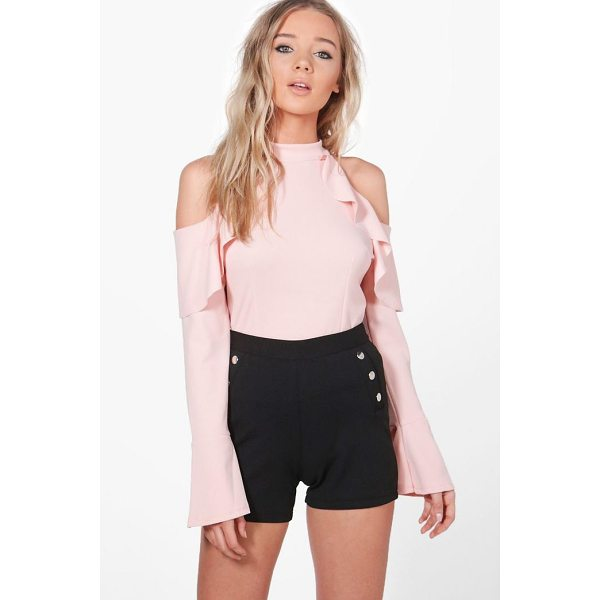 BOOHOO Julia Frill Detail Cold Shoulder Top - Steal the style top spot in a statement separate from the...