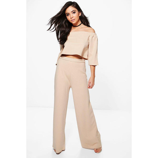 BOOHOO Justine Off The Shoulder Crop Wide Leg Co-Ord - Justine Off The Shoulder Crop Wide Leg Co-Ord stone