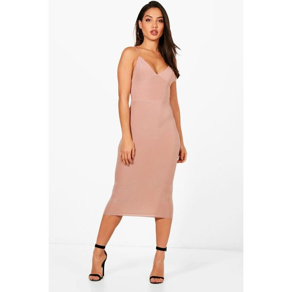 BOOHOO Karen Slinky Bodycon Midi Dress - Dresses are the most-wanted wardrobe item for day-to-night...