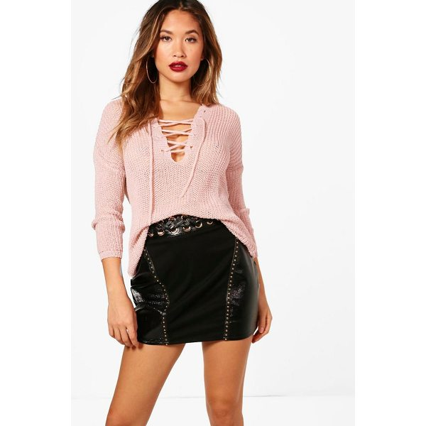 BOOHOO Karina Lace Up Loose Knit Jumper - Nail new season knitwear in the jumpers and cardigans that...