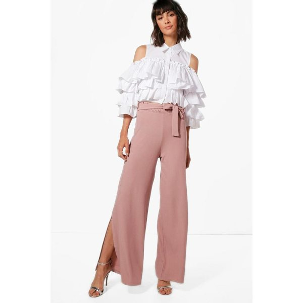 BOOHOO Karina Paperbag Waist Wide Leg Trouser - Trousers are a more sophisticated alternative to...