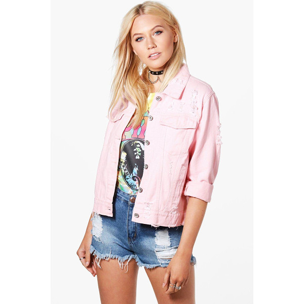 BOOHOO Karla Oversize Distressed Denim Jacket - Wrap up in the latest coats and jackets and get out-there...