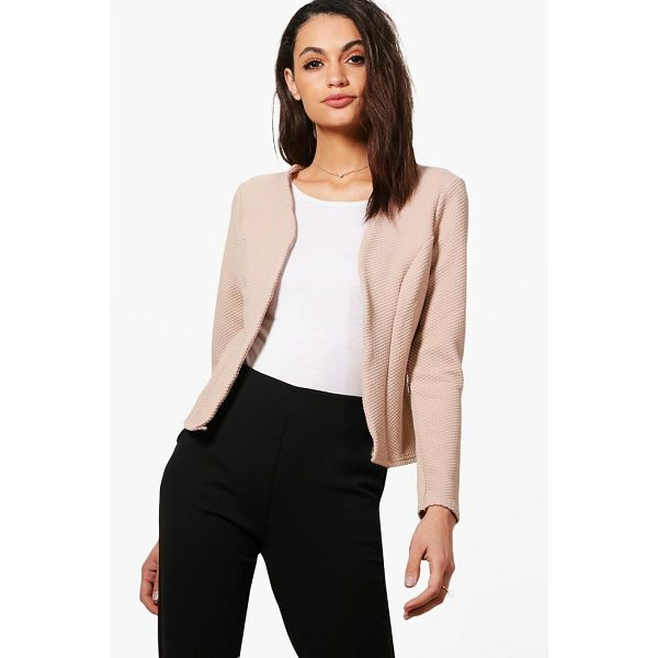 BOOHOO Kate Jacquard Crop Blazer - Add some classic tailoring to your wardrobe for...