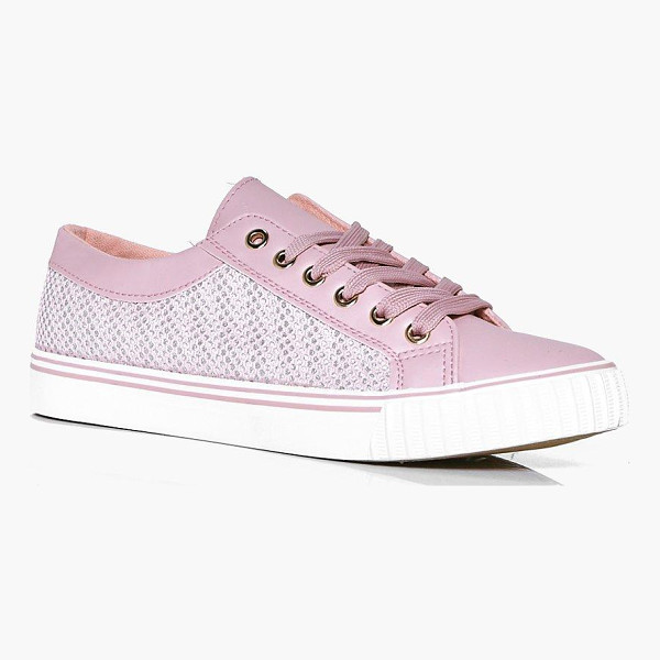 BOOHOO Kate Mesh Insert Lace Up Trainer - We'll make sure your shoes keep you one stylish step ahead...