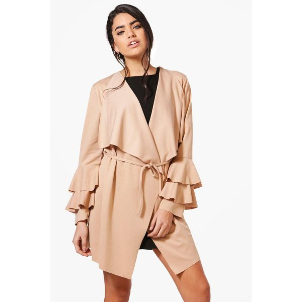 BOOHOO Kate Ruffle Sleeve Belted Duster - Wrap up in the latest coats and jackets and get out-there...