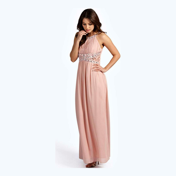 BOOHOO Katie Embellished Lace Detail Chiffon Maxi Dress - Dresses are the most-wanted wardrobe item for day-to-night...