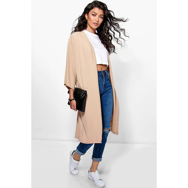 BOOHOO Katie Kimono Sleeve Collarless Duster - Wrap up in the latest coats and jackets and get out-there...