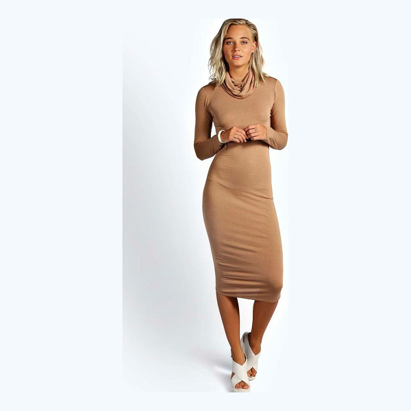 BOOHOO Katie Roll Neck Long Sleeve Midi Dress - Dresses are the most-wanted wardrobe item for day-to-night...