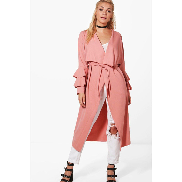 BOOHOO Katie Ruffle Sleeve Belted Duster - Wrap up in the latest coats and jackets and get out-there...