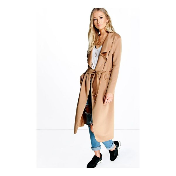 BOOHOO Katie Shawl Collar Belted Duster - Wrap up in the latest coats and jackets and get out-there...