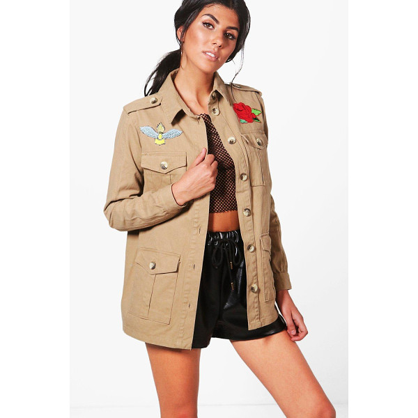 BOOHOO Kaya Embroidered Utility Jacket - Wrap up in the latest coats and jackets and get out-there...