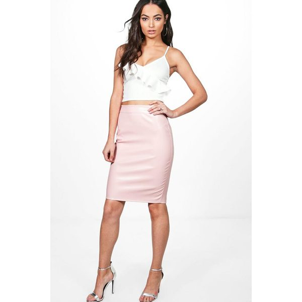 BOOHOO Keira Leather Look Midi Skirt - Skirts are the statement separate in every wardrobe This...