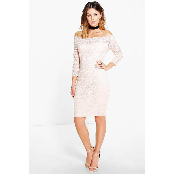 BOOHOO Kelly Lace Bardot Midi Dress - Pared back day dresses are the perfect base for layering up...