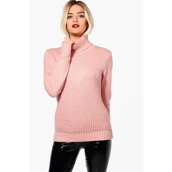 BOOHOO Kerry Contrast Stitch Roll Neck Oversized Jumper - Nail new season knitwear in the jumpers and cardigans that...